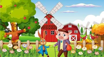 Farm at daytime scene with rabbit and pig vector