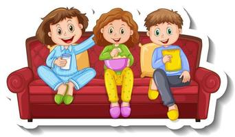A sticker template with three children sitting on sofa vector