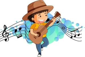 Cartoon character of a boy playing guitar with melody symbols vector