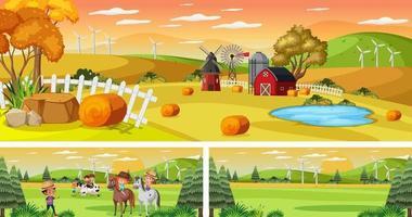 Set of different outdoor landscape scenes with cartoon character vector