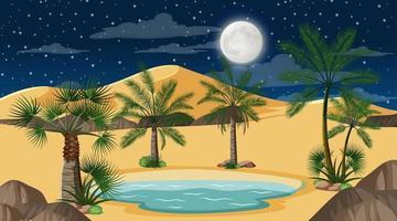 paisaje de bosque desértico en la escena nocturna con pequeño oasis vector