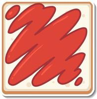 Top view of sliced bread sticker on white background vector