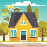 Exterior Design With Flat Building vector