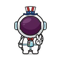 Cute astronaut with peace pose celebrate america independence day cartoon icon vector illustration