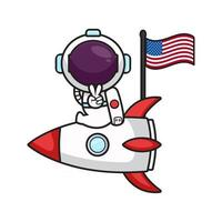 Cute astronaut sit on the rocket celebrate america independence day cartoon icon vector illustration