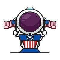 Cute astronaut on the pulpit holding flags celebrate america independence day cartoon icon vector illustration