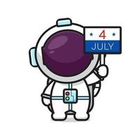 Cute astronaut holding 4 july board celebrate america independence day cartoon icon vector illustration