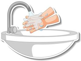 A sticker template of hands with water sink isolated vector