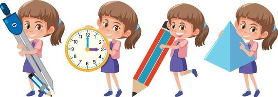 Set of a girl holding different math tools vector