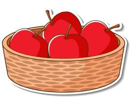 Sticker basket with many red apples vector