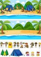 Set of different horizontal beach scenes with doodle kids cartoon character vector