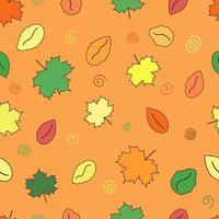 Autumn leaves pattern. Doodle leaf seamless background. Yellow, red and green maple. Vector illustration