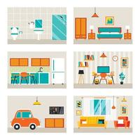 House Rooms With Flat Furnitures vector