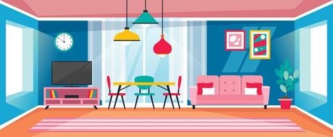 Interior Design Concept With Flat Furnitures vector