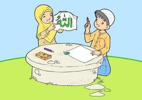 Two Young Muslims are writing calligraphy vector