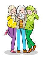 Three young muslim girl. Vector Illustration