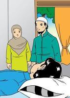 Muslim family visit the sick relative vector