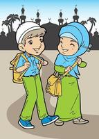 Two Young Muslim are walking down from school vector