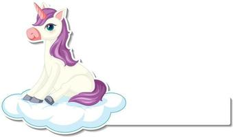 Cute unicorn stickers with blank banner template vector