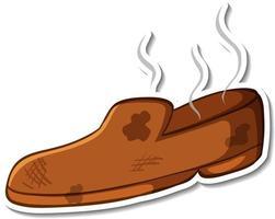 Diseño de etiqueta con zapatos de olor sucio aislado vector