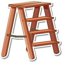 Sticker design with wooden stairs isolated vector