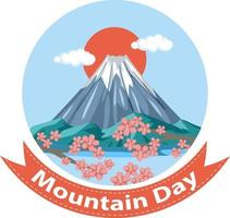 Mountain Day banner with Mount Fuji isolated vector