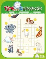 Crossword puzzle game template about animals vector