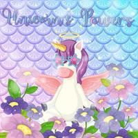 Cute unicorn on rainbow fish scales background vector