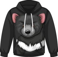 Front of hoodie sweater with black bear pattern vector
