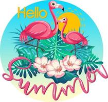 Hello Summer logo banner with flamingo and tropical leaves isolated vector