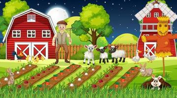 Farm scene at night with old farmer man and cute animals vector
