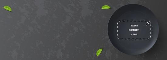 horizontal food banner design, realistic black plate on black background. 3d vector illustration