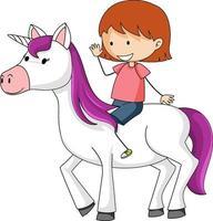 Little girl riding cute unicorn on white background vector