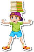 Sticker template with a happy boy cartoon character isolated vector