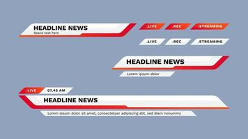 Lower third design template. Set of TV banners and bars for news and sport channel, streaming and broadcasting. Vector illustration.