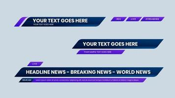 purple lower third vector with navy gradient background text modern shape