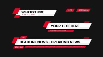 red lower third vector with white background text modern shape. News Lower Thirds Pack.