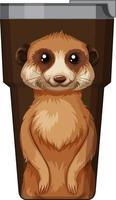 A brown thermos flask with meerkat pattern vector