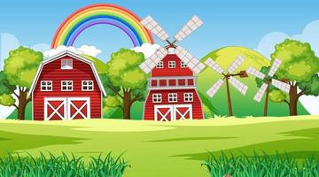 Farm landscape scene with barn and windmill vector