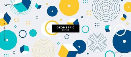 Memphis Style Geometric Cube and Circle Shapes Background. vector
