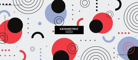 Memphis Style Circle Shapes Geometric Background. vector
