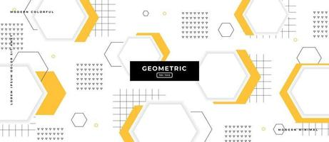 Hexagonal Memphis Style Geometric Shapes in White Background. vector