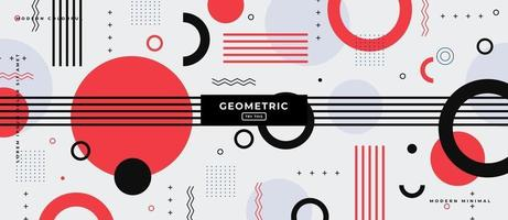 Flat Geometric Circles and Lines Memphis Style Background. vector