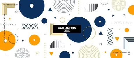 Flat Geometric Circle Shapes in White Background. vector