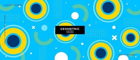 Memphis Style Circles Shapes in Blue Background. vector