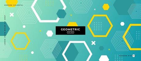Geometric Hexagon Shapes in Green Gradient Background. vector