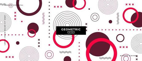 Memphis Style Round Shapes Geometric Background. vector