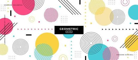 Circle Geometric Shapes in Memphis Style Background. vector