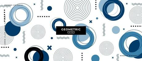 Memphis Style Geometric Circle in White Background. vector