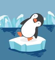 Cute penguin on ice flow vector